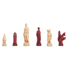 """Roman Themed Chess Pieces - 4.25"""" King - Red & Natural"""