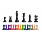 """Triple Weighted Colored Regulation Plastic Chess Pieces - 3.75"""" King"""