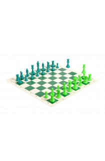 2 Player Chess Set Combination - Triple  Weighted Regulation Colored Chess Pieces & Regulation Vinyl Chess Board