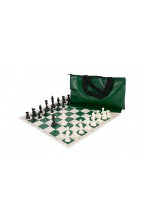 Superior Chess Set Combination - Single Weighted Regulation Pieces | Vinyl Chess Board | Superior Bag