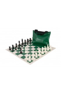 Standard Chess Set Combination - Single Weighted Regulation Pieces | Vinyl Chess Board | Standard Bag