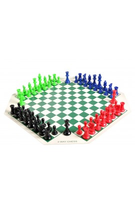 4 Player Chess Set Combination - Single Weighted Regulation Colored Chess Pieces & 4 Player Vinyl Chess Board