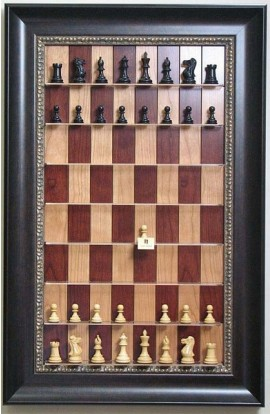 Straight Up Chess Board - Red Cherry Chess Board with Dark Bronze Frame with Gold Trim