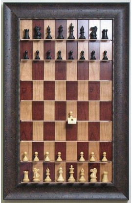 "Straight Up Chess Board - Red Cherry Chess Board with 2 7/8"" Walnut Scoop Frame"