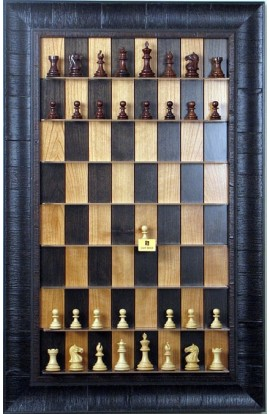 Straight Up Chess Board - Black Cherry Series with Rustic Brown Frame