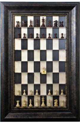 "Straight Up Chess Board - Black Maple Board with the 4 1/4"" Wide Antique Bronze Frame"