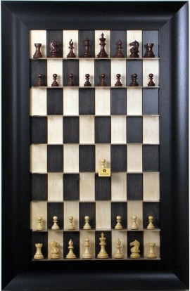 "Straight Up Chess Board - Black Maple Series with 3 1/2"" Wide Scoop"