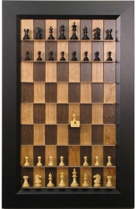 "Straight Up Chess Board - Cherry Bean Board with 3"" Flat Black Frame"