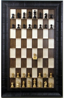Straight Up Chess Board - Maple Nut Series with Rustic Brown Frame