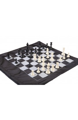 Regulation Tournament Chess Pieces and Cinch Chess Board Bag Combo - TRIPLE WEIGHTED