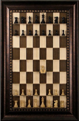 Straight Up Chess Board - Maple Nut Series with Checkered Bronze Frame