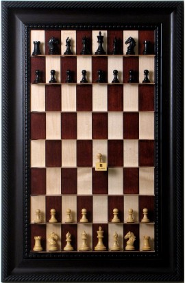 Straight Up Chess Board - Red Maple Series with Brown Traditional Frame