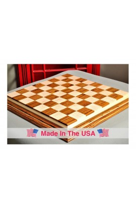 """Signature Contemporary IV Luxury Chess board - BOCOTE / CURLY MAPLE - 2.5"""" Squares"""