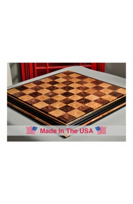 "Signature Contemporary Chess Board - WALNUT BURL  / MAPLE BURL - 2.5"" Squares"