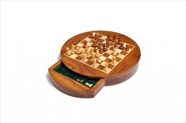 """WOODEN MAGNETIC Travel Chess Set - 6"""" Circle"""