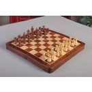 """ECONOMY - FOLDING WOODEN MAGNETIC Travel Chess Set - 12"""" - Golden Rosewood and Maple"""