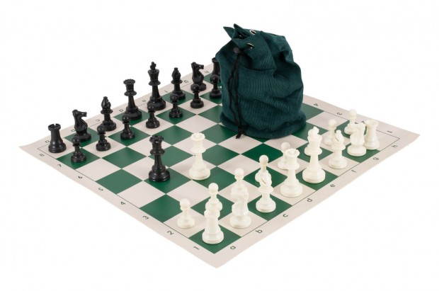 Drawstring Chess Set Combination - Solid Plastic Regulation Pieces | Vinyl Chess Board | Drawstring Bag