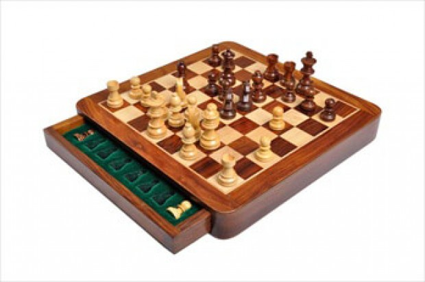 """WOODEN MAGNETIC Travel Chess Set - 10"""" Square"""