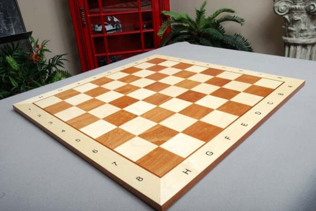 "CLEARANCE - Maple and Mahogany Wooden Tournament Chess Board - 2.5"" Squares"