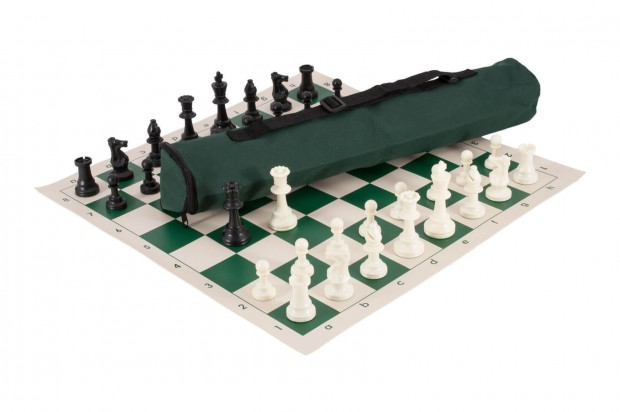 Quiver Chess Set Combination - Triple Weighted Regulation Pieces | Vinyl Chess Board | Quiver Bag