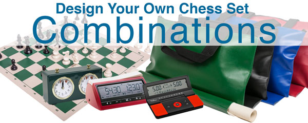 Design Your Own Chess Combinations with pieces, boards, bags, and clocks.