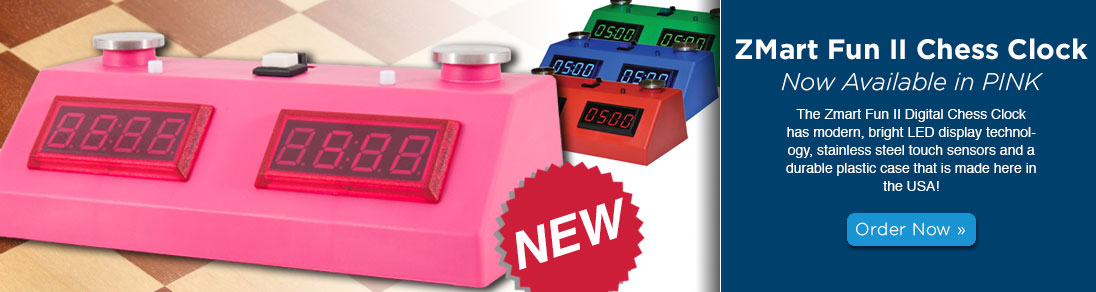 Zmart Fun II Digital Chess Clock now available in PINK at USCF Sales!