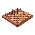 """WOODEN FOLDING MAGNETIC Travel Chess Set - 10"""" - Golden Rosewood and Maple"""