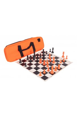 Halloween Deluxe Chess Set Combination - Single Weighted Regulation Pieces | Vinyl Chess Board | Deluxe Bag