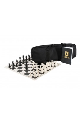 The Chess Player's Combination - Single Weighted Regulation Pieces | Vinyl Chess Board | Deluxe Bag | Luxe Scorebook