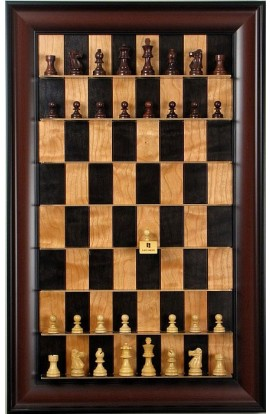 Straight Up Chess Board - Black Cherry Series with Red Accent Frame