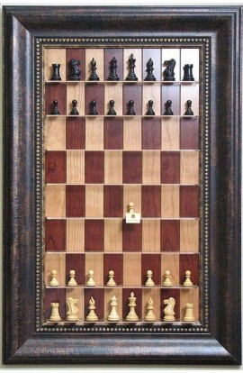 """Straight Up Chess Board - Red Cherry Board with a 4 1/4"""" wide Antique Bronze frame with gold trim"""
