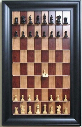 Straight Up Chess Board - Red Cherry Chess Board with Black Contemporary Frame