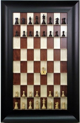 """Straight Up Chess Board - Red Maple with 3 1/2"""" Wide Scoop Frame"""