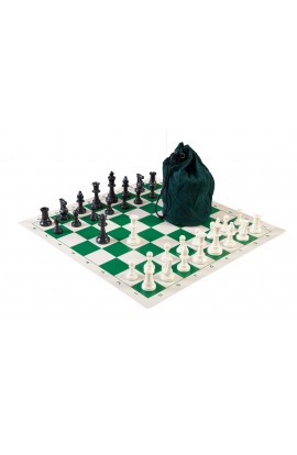 Drawstring Chess Set Combination - Single Weighted Regulation Pieces | Vinyl Chess Board | Drawstring Bag