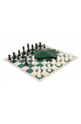 Basic Chess Set Combination - Triple Weighted Regulation Pieces | Vinyl Chess Board | Basic Bag