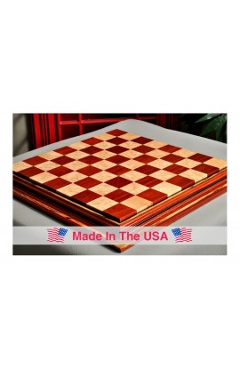 """Signature Contemporary Chess Board - BLOODWOOD  / BIRD'S EYE MAPLE - 2.5"""" Squares"""