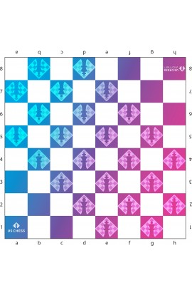 US Chess Women - Full Color Vinyl Chess Board - Blue to Pink Gradient